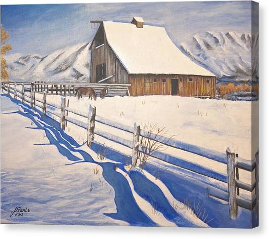 The First Snow Canvas Print by Jim  Reale