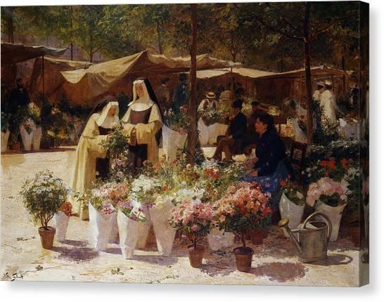 Nuns Canvas Print - The Flower Market by Victor Gabriel Gilbert