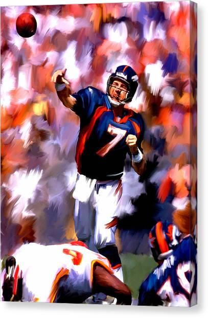 John Elway Canvas Print - The Gun IIi  John Elway by Iconic Images Art Gallery David Pucciarelli