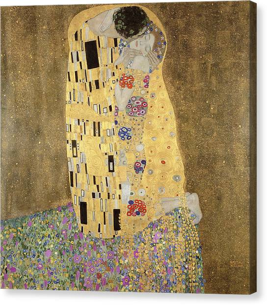 Canvas Print featuring the painting The Kiss by Celestial Images