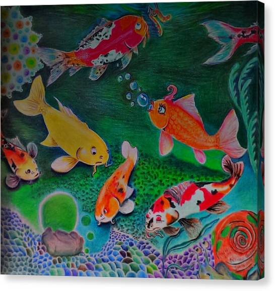 Koi Pond Canvas Print - The Koi Life by Denisse Del Mar Guevara