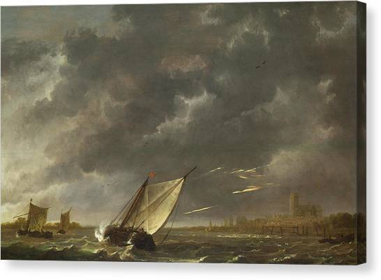 Maas Canvas Print - The Maas At Dordrecht In A Storm by Aelbert Cuyp