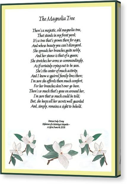 The Magnolia Tree - Poetry Canvas Print by Patricia Neely-Dorsey