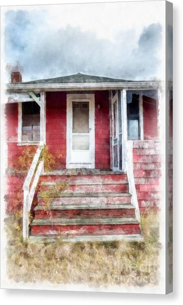 Marthas Vineyard Canvas Print - The Old Beach Cottage by Edward Fielding