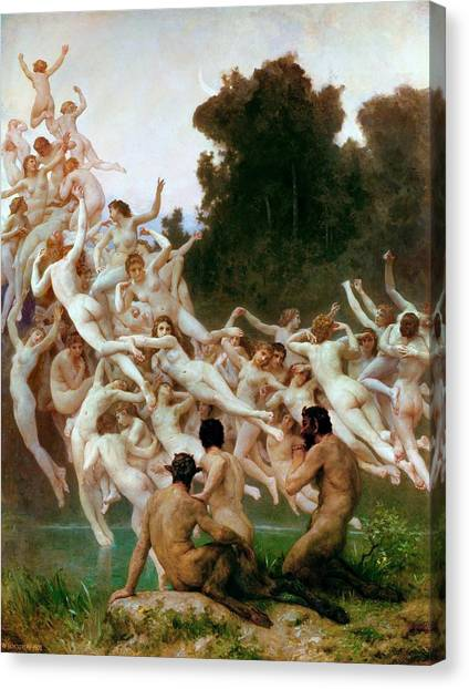 Erotic Framed Canvas Print - The Oreads by William-Adolphe Bouguereau