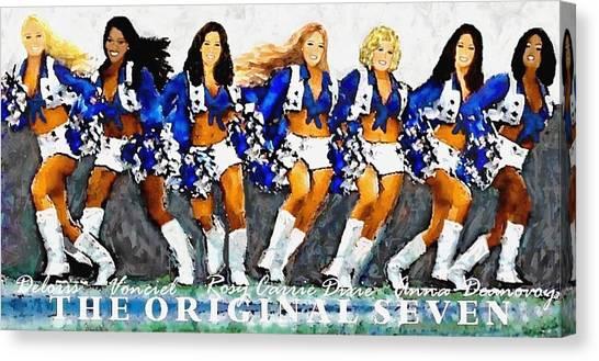 Dallas Cowboys Cheerleaders Canvas Print - The Original Seven by Carrie OBrien Sibley
