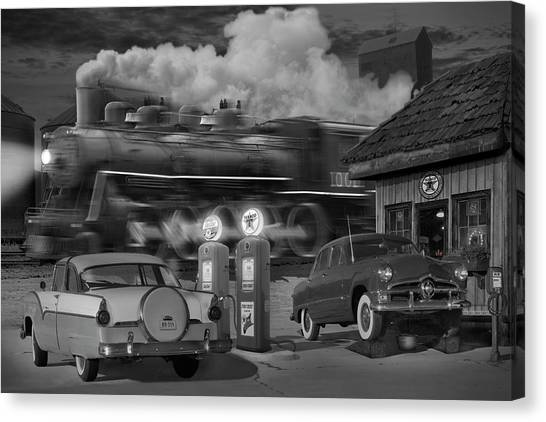 Locomotive Canvas Print - The Pumps by Mike McGlothlen