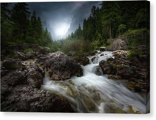 Dolomites Canvas Print - The River by Francesco Tavani