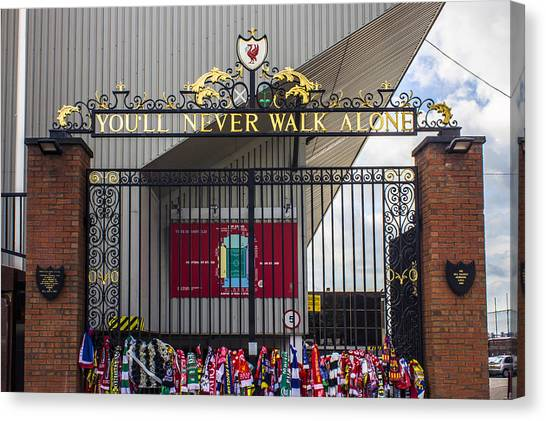 Liverpool Fc Canvas Print - The Shankly Gates by Paul Madden