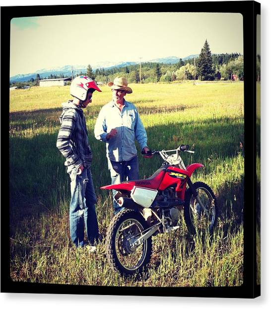 Dirt Bikes Canvas Print - The Teacher by Meghan at FireBonnet Art