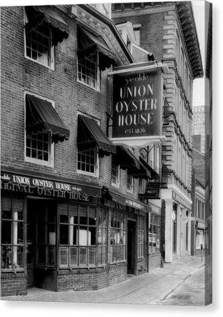 Oysters Canvas Print - The Union Oyster House In Boston by Mountain Dreams