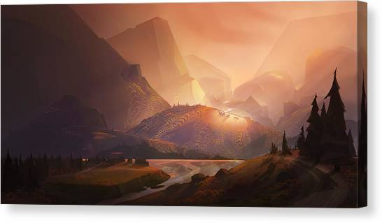 Pine Trees Canvas Print - The Valley by Kristina Vardazaryan