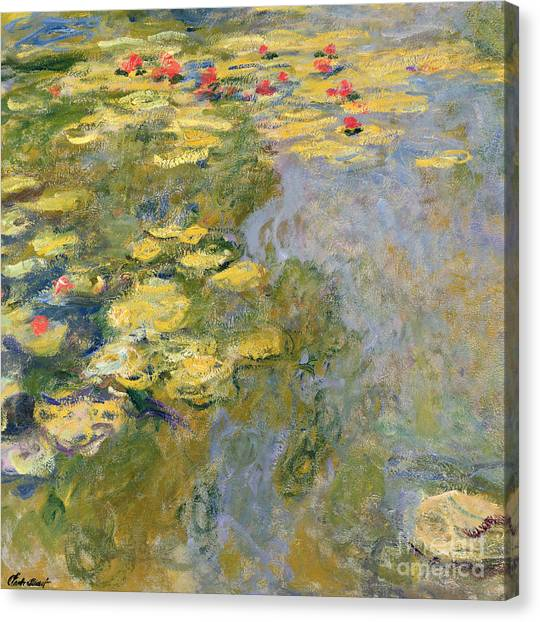 Lilies Canvas Print - The Waterlily Pond by Claude Monet