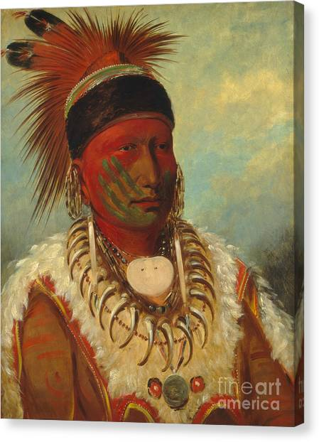 Indians Canvas Print - The White Cloud Head Chief Of The Iowas by George Catlin