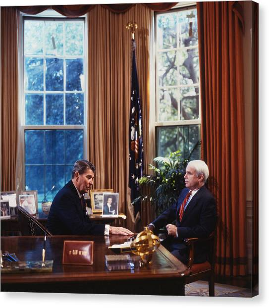 John Mccain Canvas Print - The White House, President Ronald by Everett