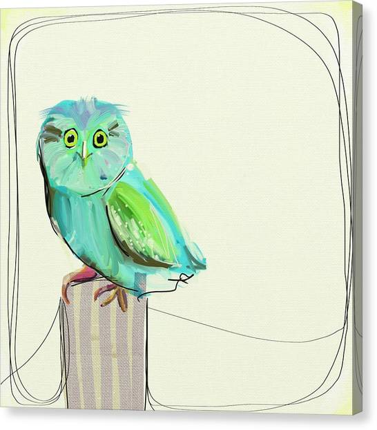 Owls Canvas Print - This Little Guy by Cathy Walters