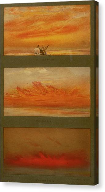 Krakatoa Canvas Print - Three Months After The Major  Eruption by Mary Evans Picture Library