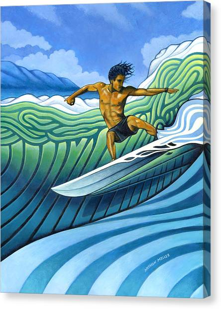 Surfing Canvas Print - Tico Surfer by Nathan Miller