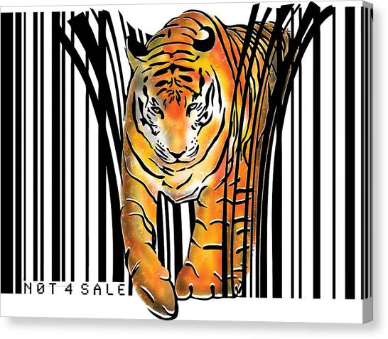 India Canvas Print - Tiger Barcode by Sassan Filsoof