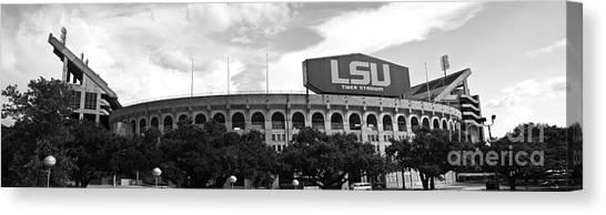 Sec Canvas Print - Tiger Stadium Panorama - Bw by Scott Pellegrin