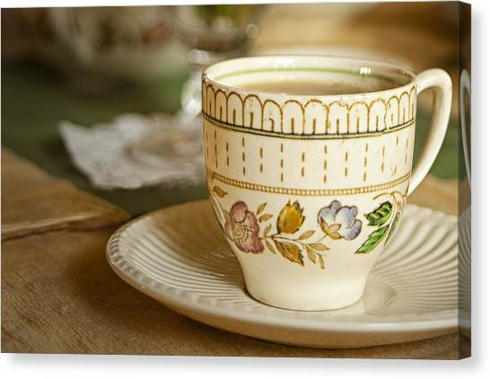 Saucer Canvas Print - Time For Tea by Andrew Soundarajan