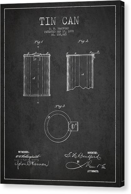 Metal Fish Canvas Print - Tin Can Patent Drawing From 1878 by Aged Pixel