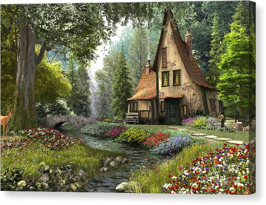 Toadstools Canvas Print - Toadstool Cottage by Dominic Davison