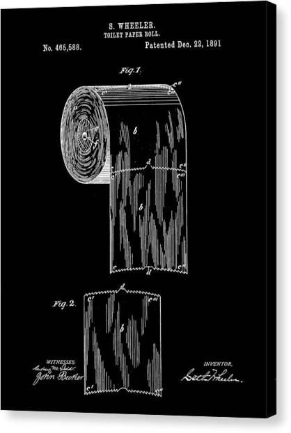 Ply Canvas Print - Toilet Paper Roll Patent 1891 - Black by Stephen Younts