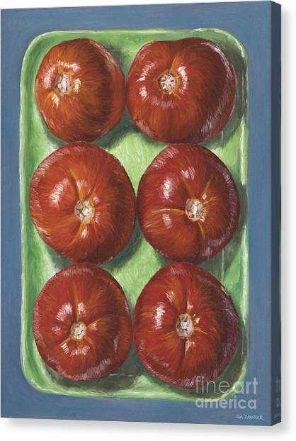 Vegetable Garden Canvas Print - Tomatoes In Green Tray by Jim Zahniser