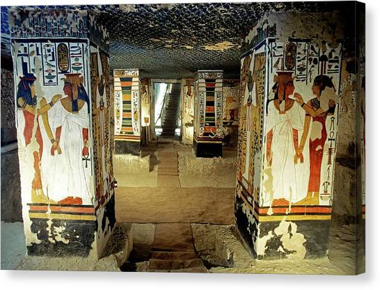 Tomb Of Queen Nefertari Canvas Print by Patrick Landmann/science Photo Library
