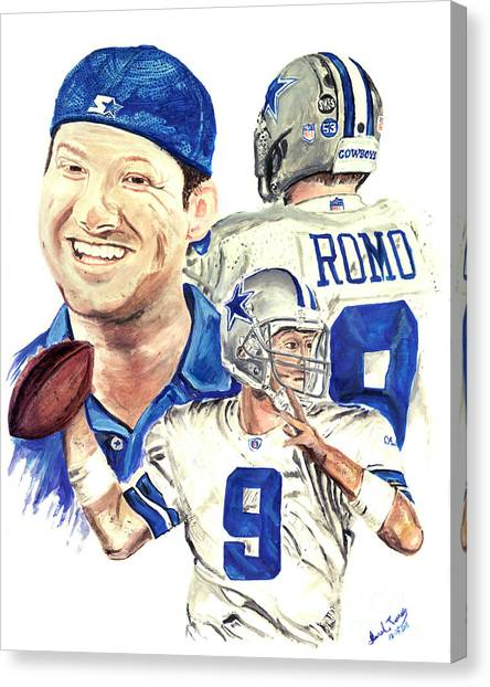 Drew Brees Canvas Print - Tony Romo by Israel Torres