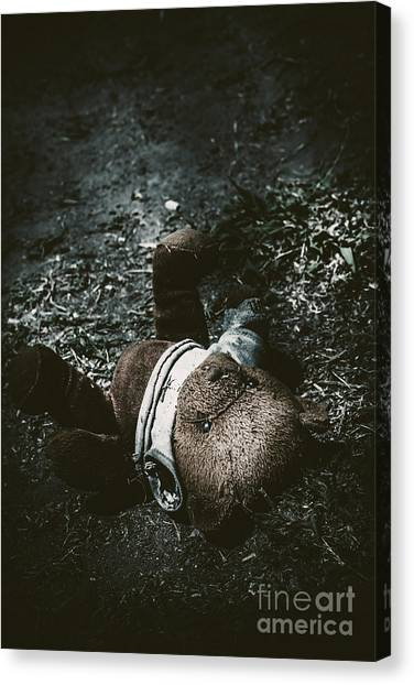 Teddybear Canvas Print - Toy Teddy Bear Lying Abandoned In A Dark Forest by Jorgo Photography - Wall Art Gallery