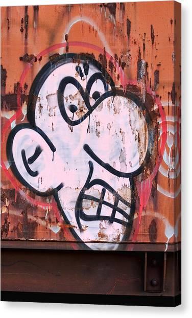Graffiti Canvas Print - Train Art Cartoon Face by Carol Leigh