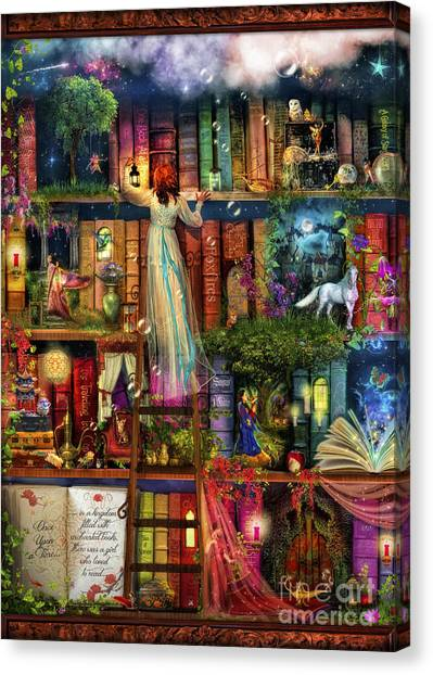 Treasure Hunt Book Shelf Canvas Print