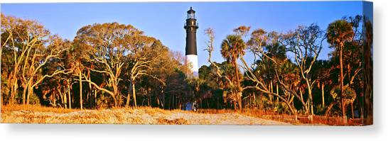 Hunting Island Canvas Print - Trees Around A Lighthouse, Hunting by Panoramic Images