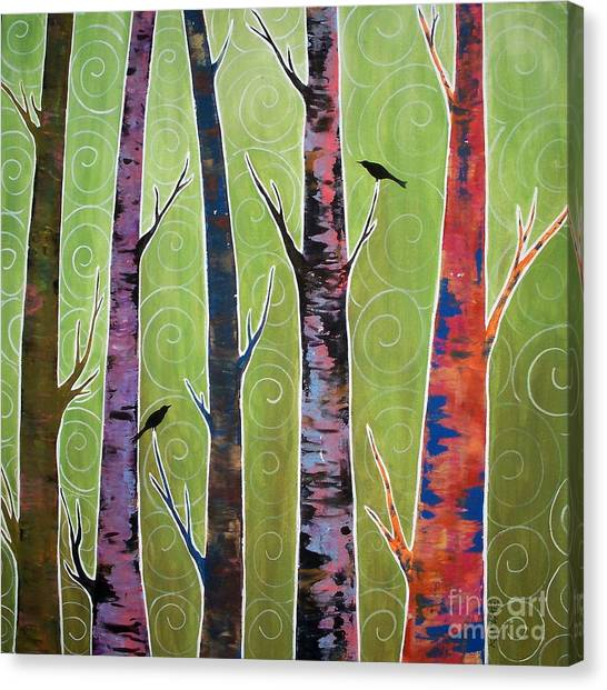 Blackbirds Canvas Print - Trees On Green by Karla Gerard