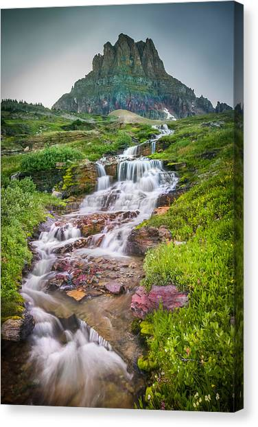 Triple Falls Stream Glacier National Park Canvas Print