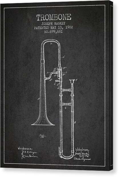 Trombones Canvas Print - Trombone Patent From 1902 - Dark by Aged Pixel