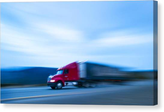 Truck Driver Canvas Print - Truck On Motorway by Science Photo Library