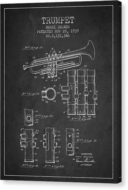 Brass Instruments Canvas Print - Trumpet Patent From 1939 - Dark by Aged Pixel