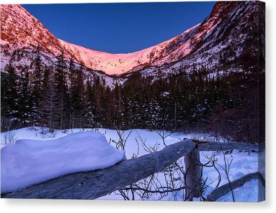Lake Sunrises Canvas Print - Tuckerman Ravine In The Winter Alpenglow by Jeff Sinon