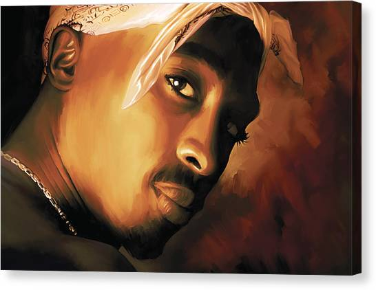 Hip Hop Canvas Print - Tupac Shakur by Sheraz A