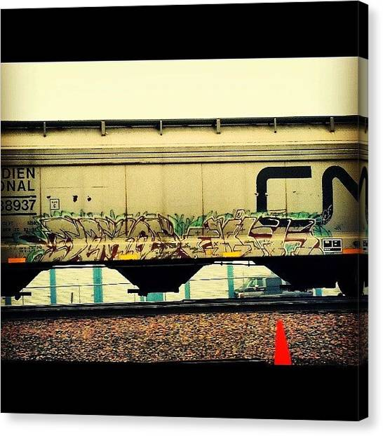 Freight Trains Canvas Print - Twin Cities Tracks #urban #benching by Angel Peterson
