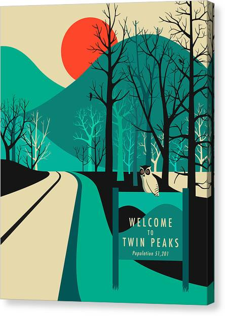 Pop Art Canvas Print - Twin Peaks Travel Poster by Jazzberry Blue