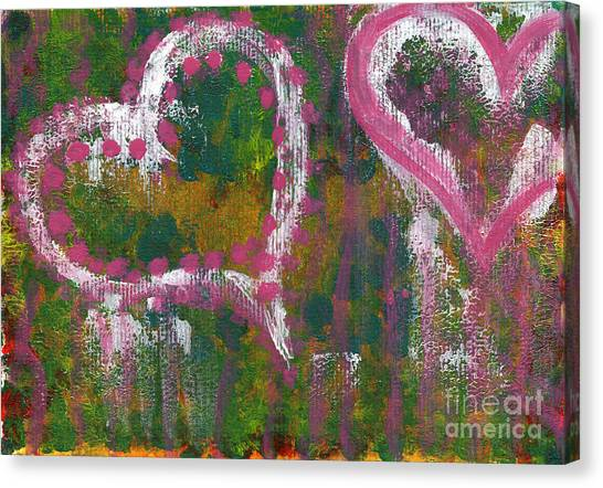 Two Hearts Canvas Print by Angela Bruno