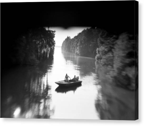 Atchafalaya Basin Canvas Print - Two People Take A Canoe Trip by Robb Kendrick