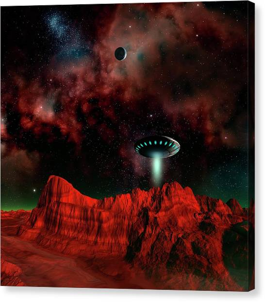 Ufo Over An Alien Planet Canvas Print by Mehau Kulyk/science Photo Library