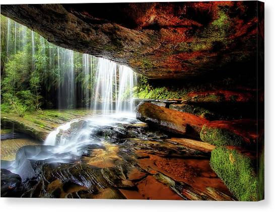 Caves Canvas Print - Under The Ledge by Mark Lucey