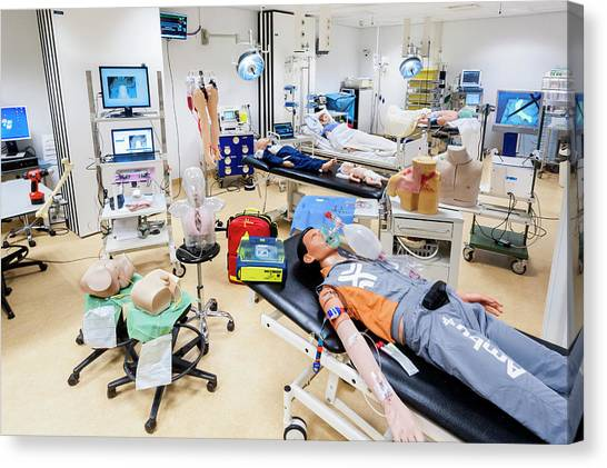 Dummies Canvas Print - University Hospital Skills Centre by Arno Massee/science Photo Library