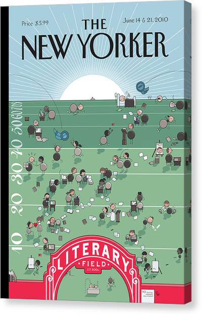 Finish Line Canvas Print - New Yorker June 14th, 2010 by Chris Ware